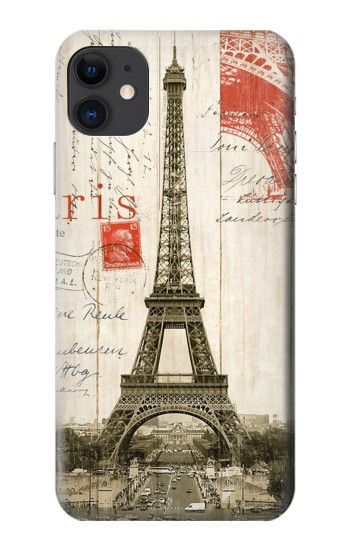 Printed Eiffel Tower Paris Postcard iPhone 11 Case