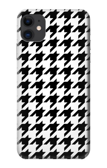 Printed Black White Houndstooth Monogram Pattern iPhone 11 Case