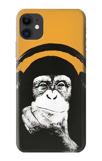 Printed Funny Monkey with Headphone Pop Music iPhone 11 Case