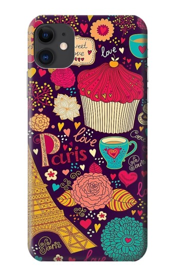 Printed Paris Cartoon Vintage Pattern iPhone 11 Case