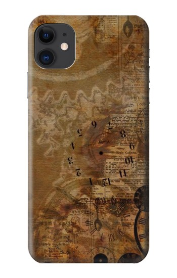 Printed Vintage Paper Clock Steampunk iPhone 11 Case
