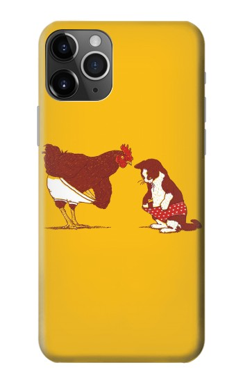 Printed Rooster and Cat Joke iPhone 11 Pro Case