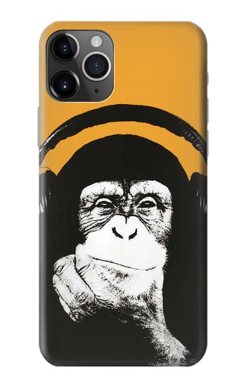 Printed Funny Monkey with Headphone Pop Music iPhone 11 Pro Case