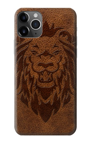 Printed Leo Tattoo Brown Leather iPhone 11 Pro Case