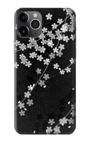 Printed Japanese Style Black Flower Pattern iPhone 11 Pro Case