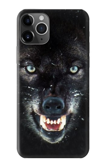 Printed Black Wolf Blue Eyes Face iPhone 11 Pro Case