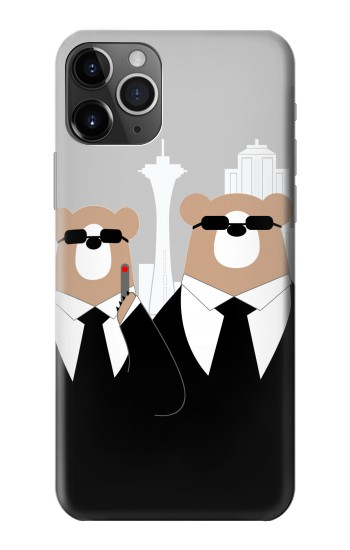 Printed Bear in Black Suit iPhone 11 Pro Case