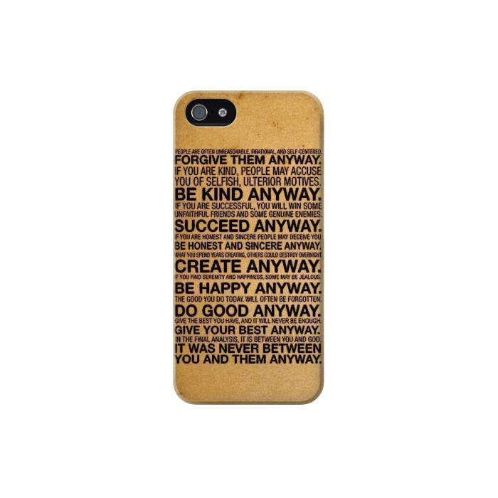 Printed Mother Teresa Anyway Quotes Iphone 5C Case
