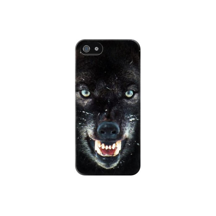 Printed Black Wolf Blue Eyes Face Iphone 5C Case