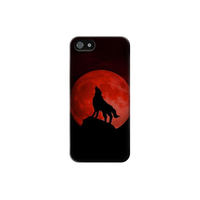 Printed Wolf Howling Red Moon Iphone 5C Case