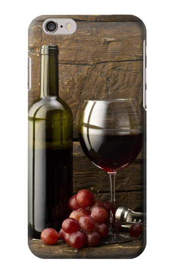 Printed Grapes Bottle and Glass of Red Wine Iphone 6 plus Case