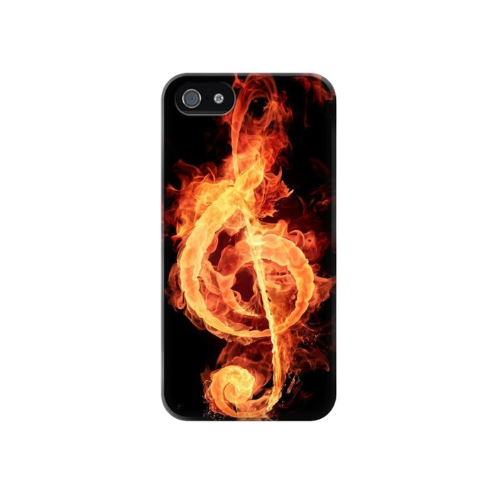 Printed Music Note Burn Iphone 4 Case