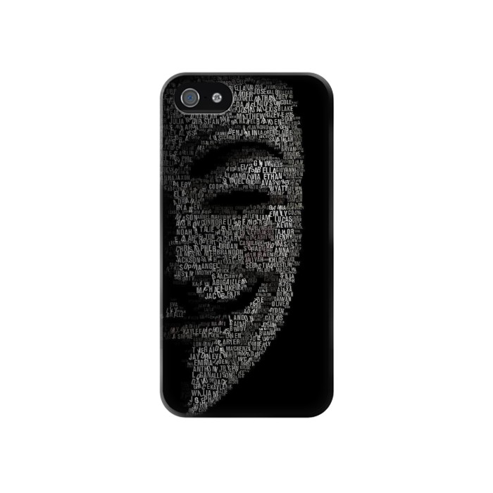 Printed V Mask Guy Fawkes Anonymous Iphone 4 Case