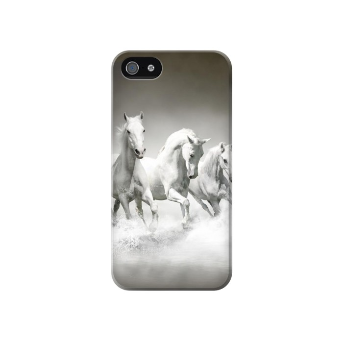 Printed White Horses Iphone 4 Case