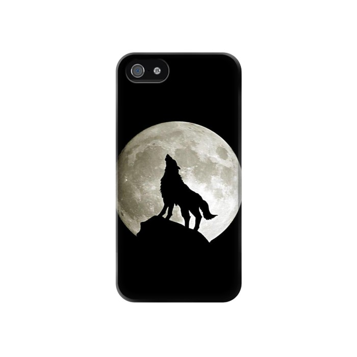 Printed Wolf Howling at The Moon Iphone 4 Case