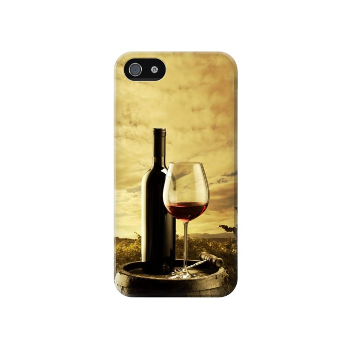 Printed A Grape Vineyard Grapes Bottle and Glass of Red Wine Iphone 4 Case