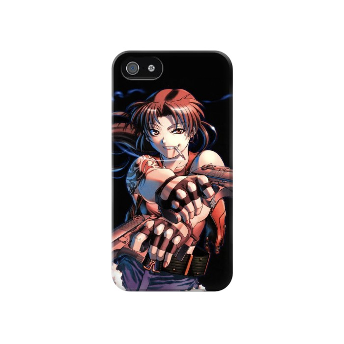 Printed Black Lagoon Revy Two Hands Iphone 4 Case