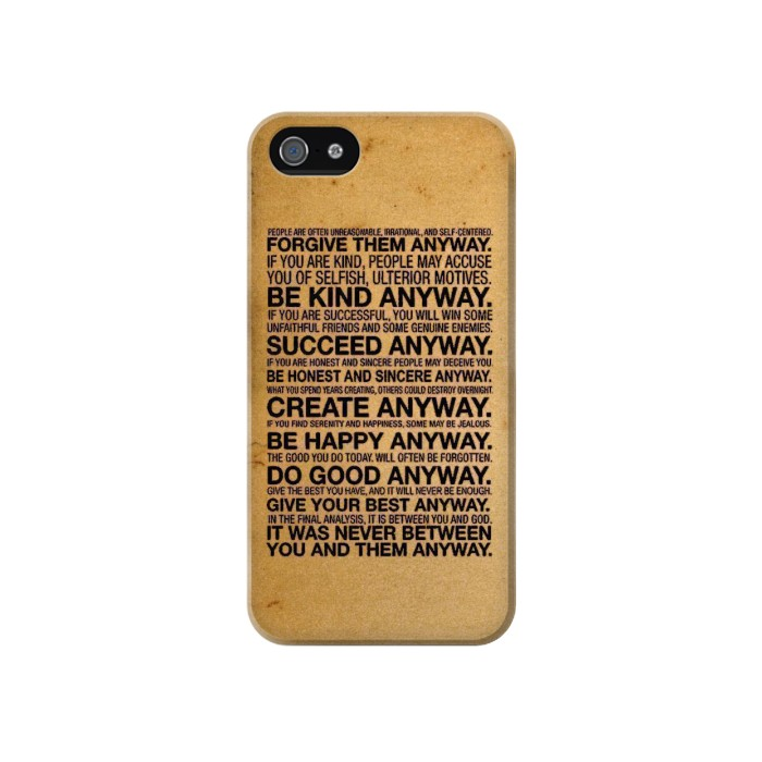 Printed Mother Teresa Anyway Quotes Iphone 4 Case