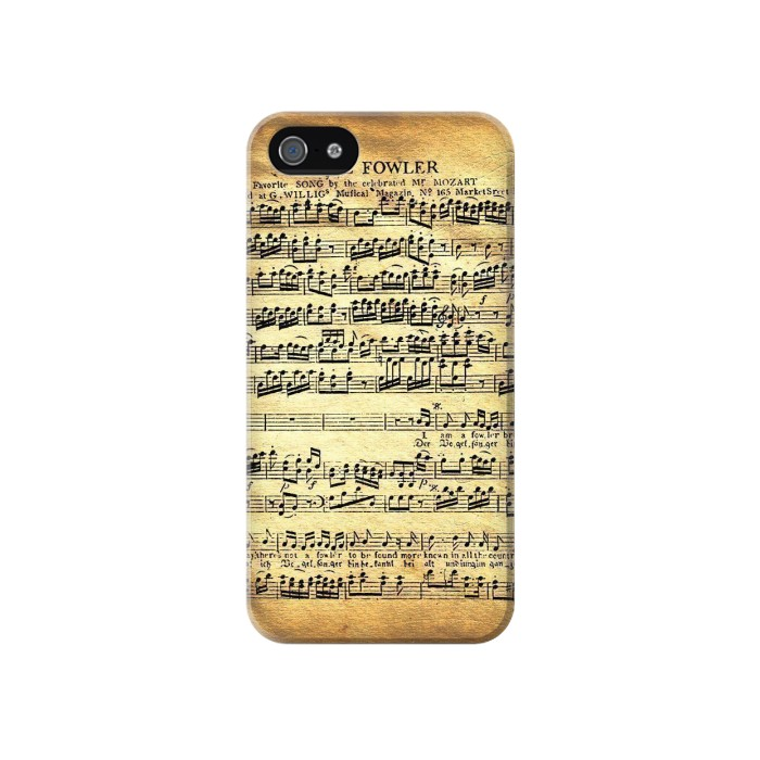 Printed The Fowler Mozart Music Sheet Iphone 4 Case