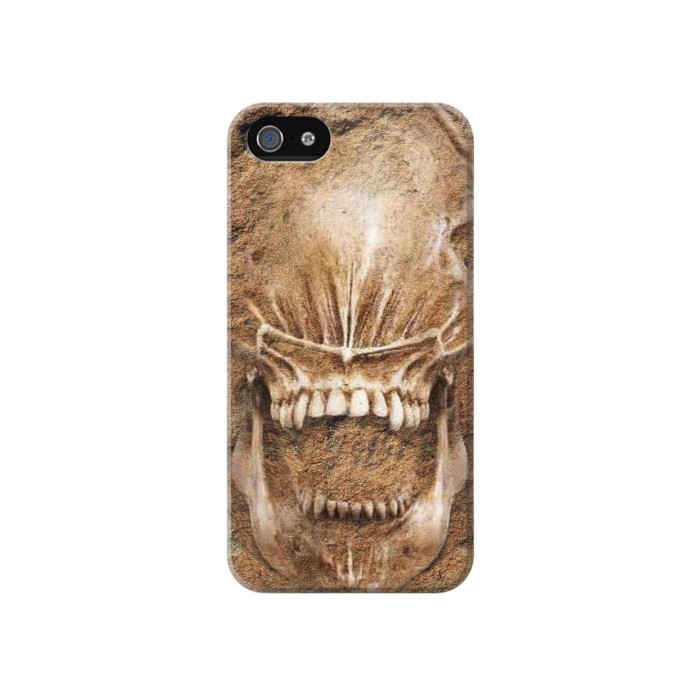 Printed Alien Skull Fossil Iphone 4 Case