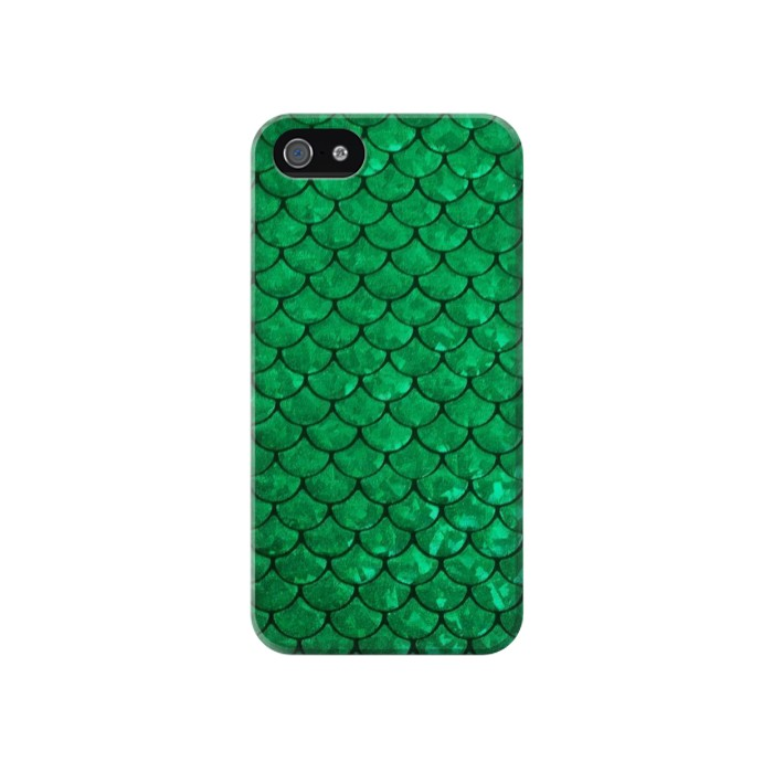 Printed Green Fish Scale Pattern Iphone 4 Case