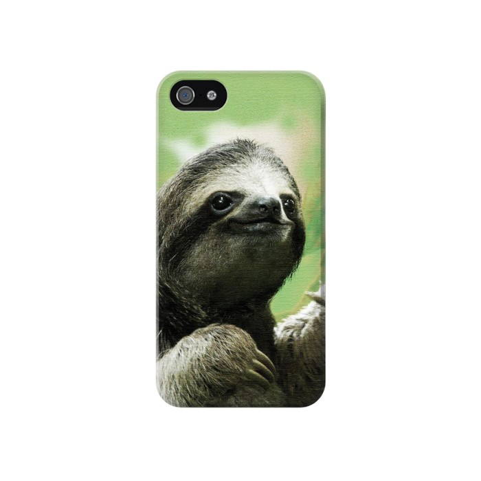 Printed Smiling Sloth Iphone 4 Case