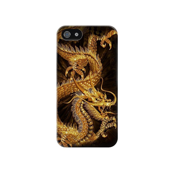Printed Chinese Gold Dragon Printed Iphone 4 Case