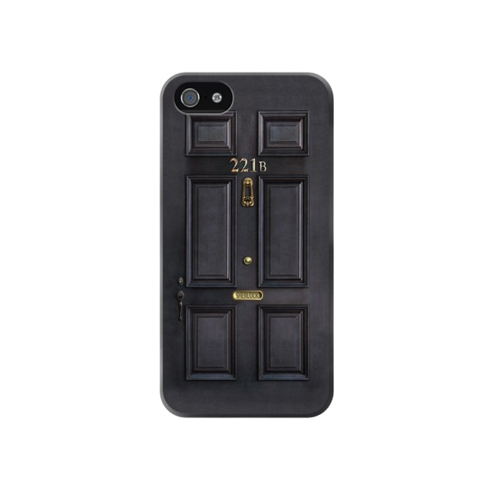 Printed Sherlock Holmes Black Door 221B Iphone 4 Case