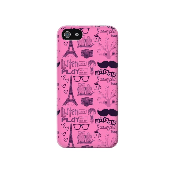 Printed Paris Pink Iphone 4 Case