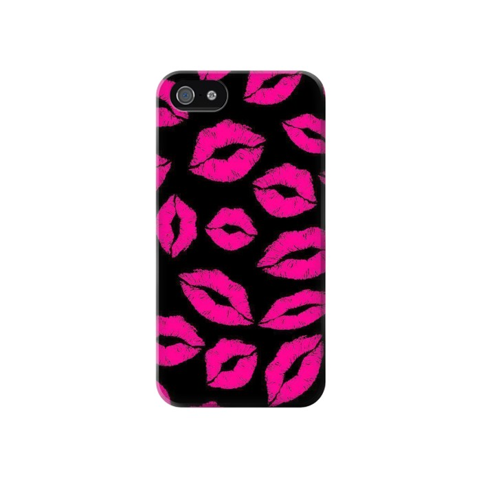 Printed Pink Lips Kisses on Black Iphone 4 Case