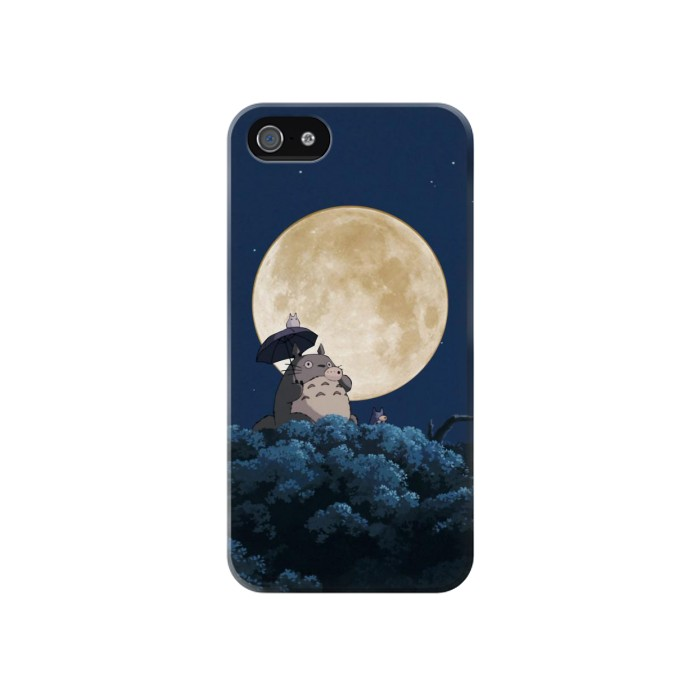 Printed Totoro Ocarina Moon Night Iphone 4 Case