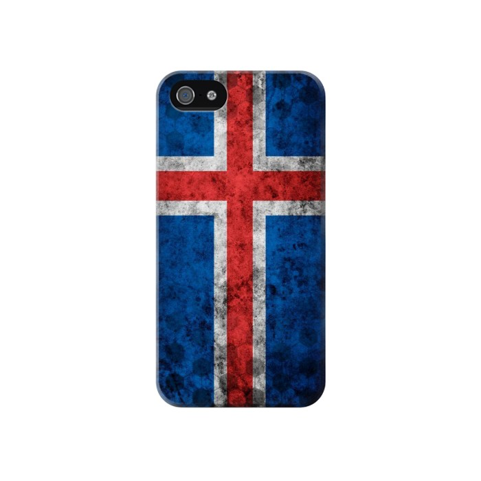 Printed Iceland Football Flag Iphone 4 Case