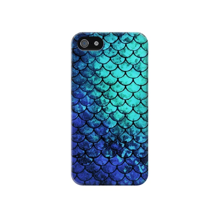 Printed Green Mermaid Fish Scale Iphone 4 Case