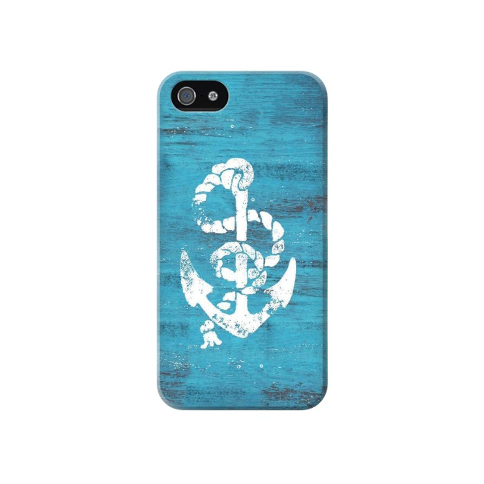 Printed Marine Anchor Blue Wooden Iphone 4 Case