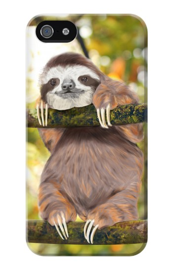 Printed Cute Baby Sloth Paint Iphone 4 Case