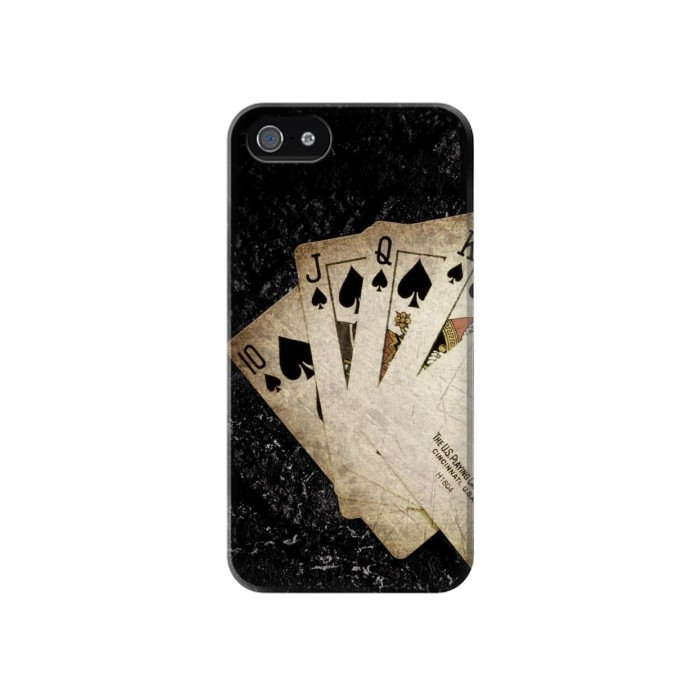 Printed Vintage Royal Straight Flush Cards Iphone 4 Case