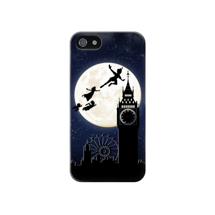 Printed Peter Pan Fly Fullmoon Night Iphone 4 Case