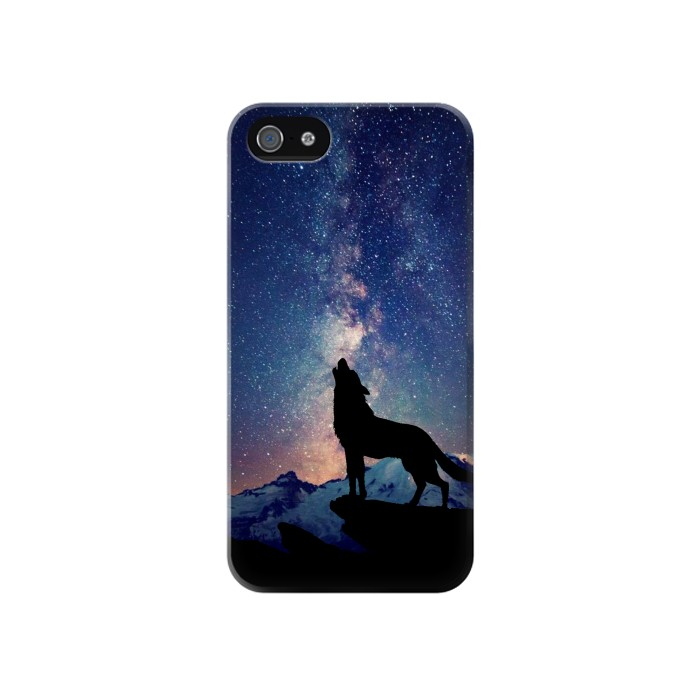 Printed Wolf Howling Million Star Iphone 4 Case