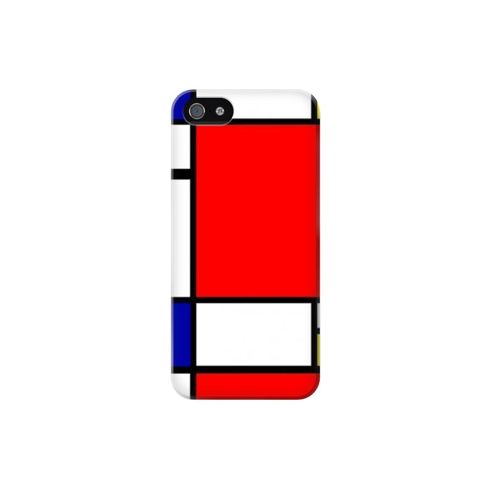Printed Composition Red Blue Yellow Iphone 5 Case