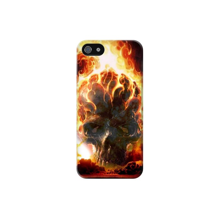 Printed Hell Fire Skull Iphone 5 Case