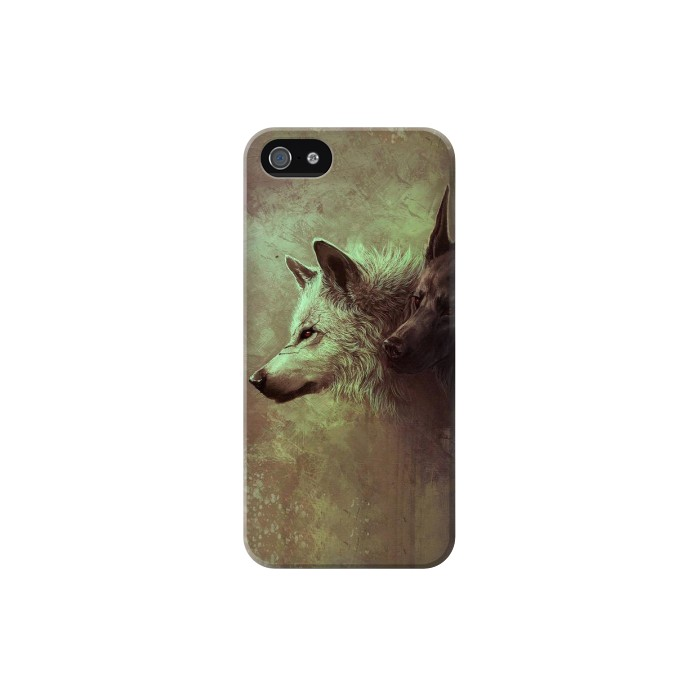 Printed White Black Wolf Iphone 5 Case
