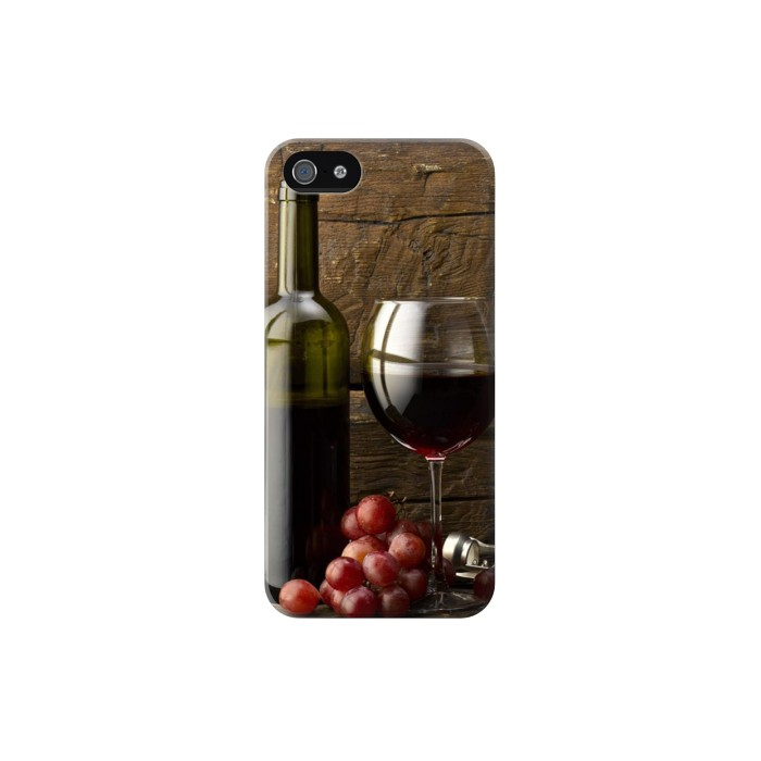 Printed Grapes Bottle and Glass of Red Wine Iphone 5 Case
