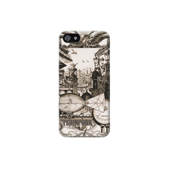 Printed Steampunk Drawing Iphone 5 Case