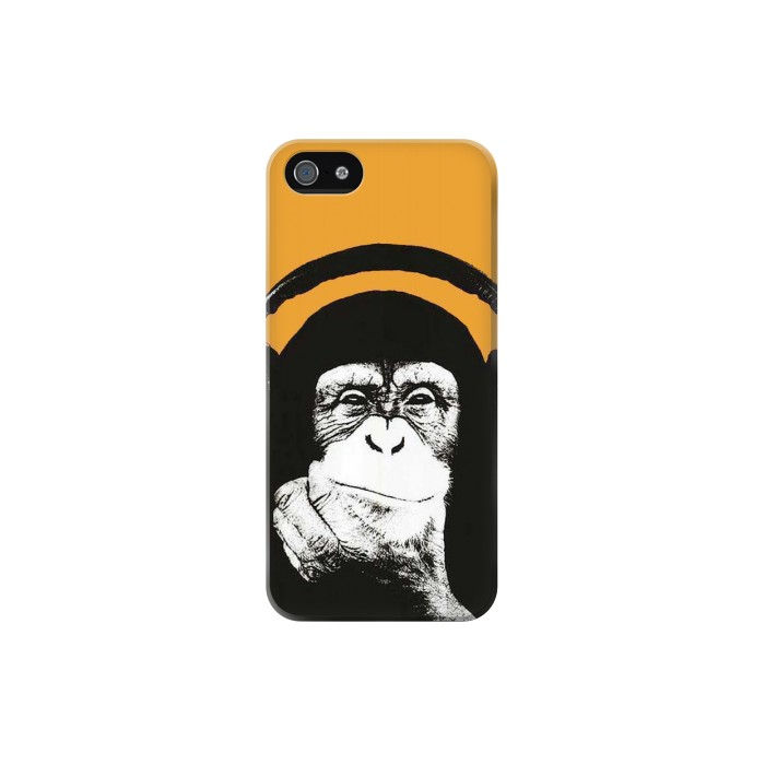 Printed Funny Monkey with Headphone Pop Music Iphone 5 Case