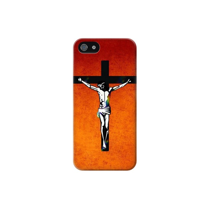 Printed Jesus Christ On The Cross Iphone 5 Case
