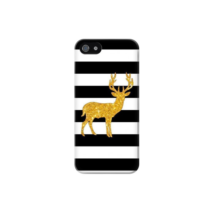 Printed Black and White Striped Deer Gold Sparkles Iphone 5 Case