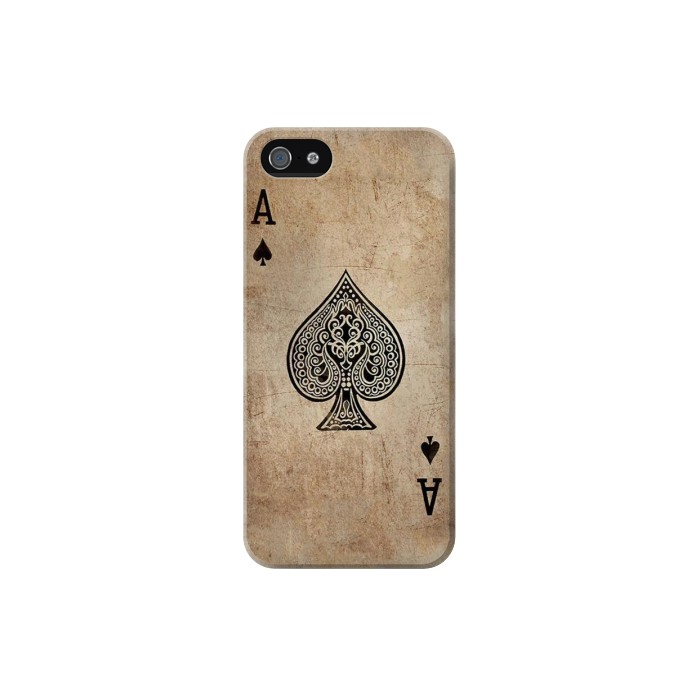 Printed Vintage Spades Ace Card Iphone 5 Case