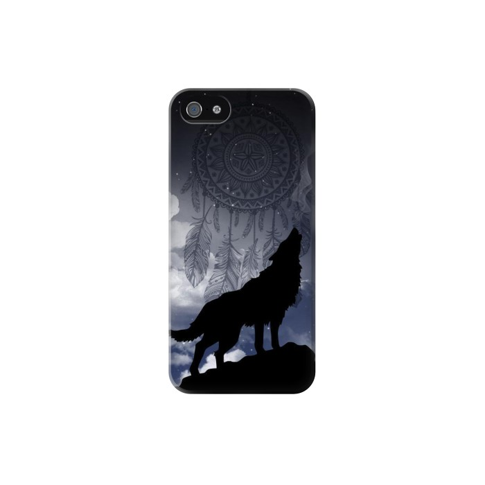 Printed Dream Catcher Wolf Howling Iphone 5 Case