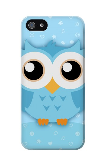 Printed Cute Blue Owl Iphone 5 Case