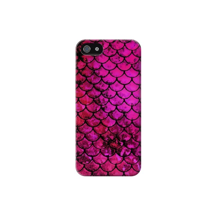Printed Pink Mermaid Fish Scale Iphone 5 Case